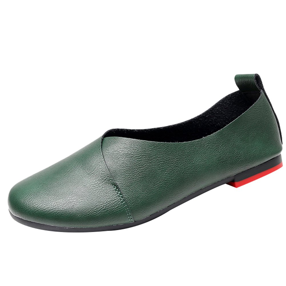 MatchLife Femmes Retro Cuir Plates Rondes Chaussures