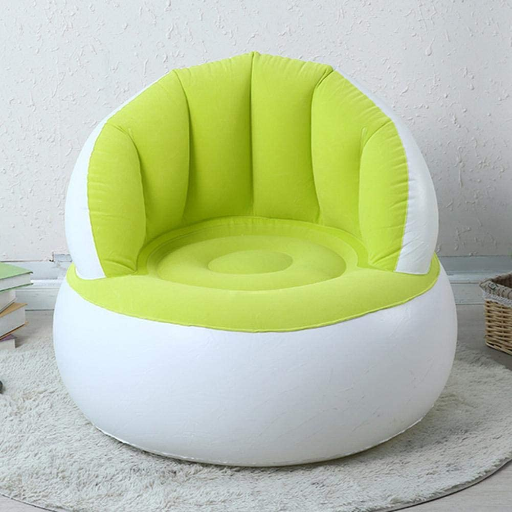QueenHome Children Inflatable Sofa Kids Flocking Chair Pouf with Backrest Cute Flocking Colorful Folding Blow up Sofa Chair
