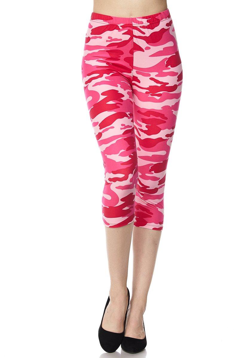 PALI USA Print Brushed Capri Leggings Regular and Plus (Capri Pink CAMO, Plus Size(12-24))