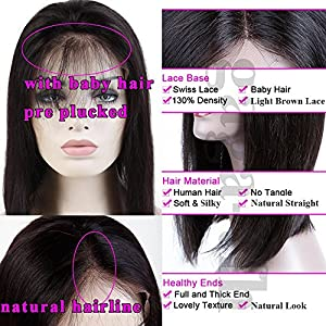 Glueless 10inch short Straight Bob Lace Front Wigs 100% Brazilian Virgin Human Hair Wig Pre Plucked Side Part with Baby Hair for Women Natural 1B Black