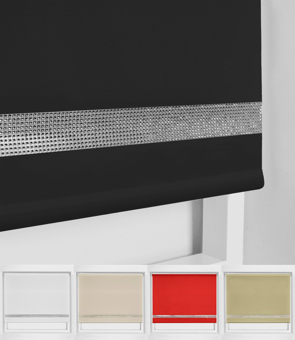 Diamante edge Roller Blind - Dim out - Multiple sizes And Colours (60cm, Natural) BLINDSMEGASTORE