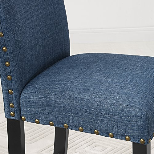 Amazon.com   Roundhill Furniture Biony Blue Fabric Dining Chairs With  Nailhead Trim, Set Of 2   Chairs