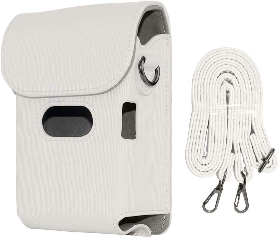 Ash White Cpano Classic Vintage PU Funda de Cuero Compatible con la Impresora para Fujifilm Instax Mini Link Smartphone