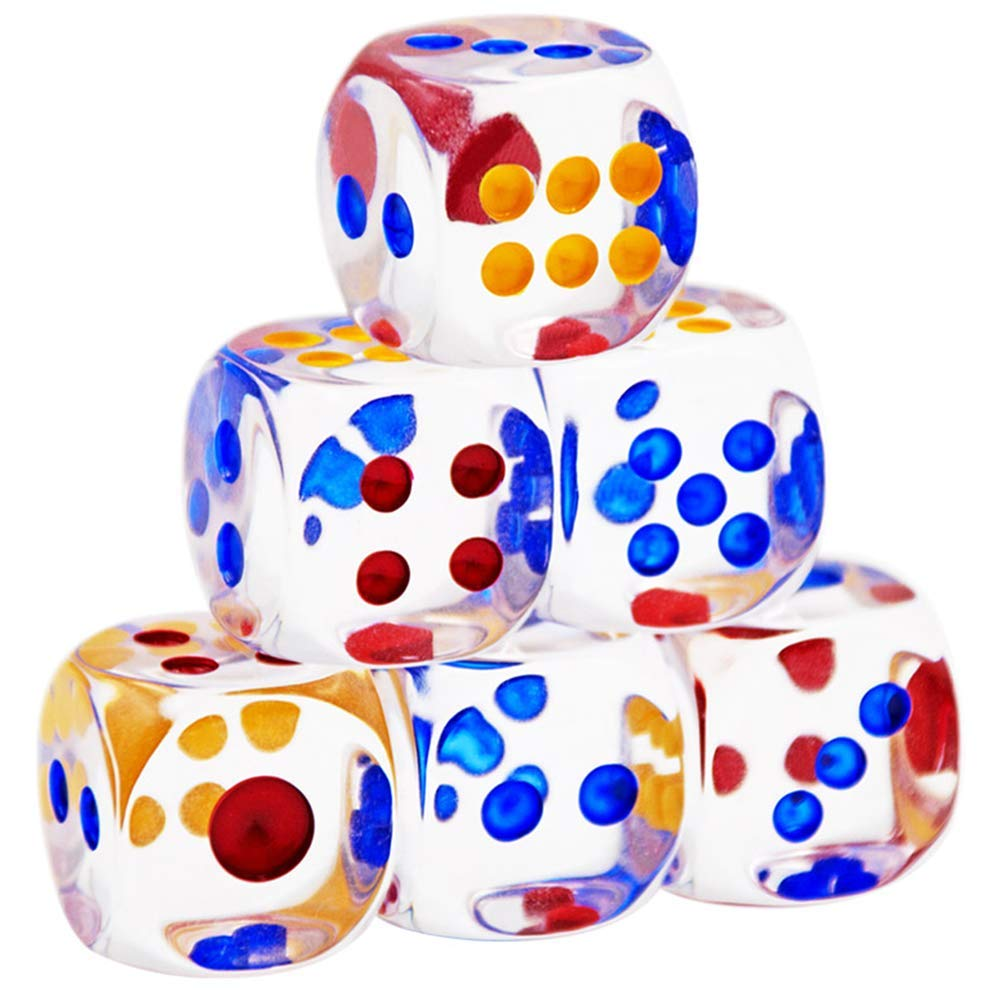 QIANQIAN 100 Pieces 6-Sided Transparent Games Dice Set 13mm Round Corner Dice for Playing Games Like Board Games Dice Games Math Games Party Favors Toy Gifts or Teaching Kids Math