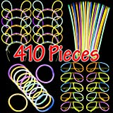 Dragon Too Glow Stick Party Set - 410 Pieces - Includes Connectors to Create Necklaces, Bracelets, Glasses Headbands - Glow in The Dark Party Favors