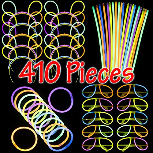 Dragon Too Glow in The Dark Party Supplies - 410 Pieces - Includes Connectors to Create Necklaces, Bracelets, Glasses and Headbands - Glow in The Dark Party Favors -