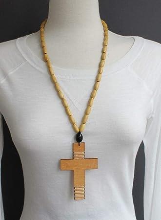 Amazon.com : Light Brown wood cross long necklace big huge cross pendant  wooden bead beaded R-4133 : Beauty