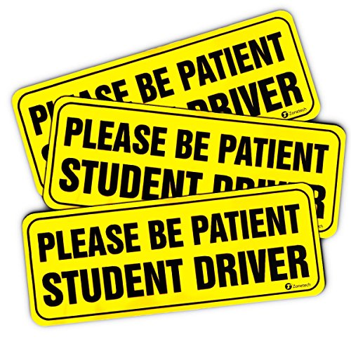 zone-tech-please-be-patient-student-driver-vehicle-bumper-magnet-3-pack-premium-quality-neon-please-
