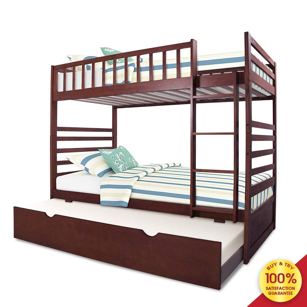 Bunk Mission Style with End Ladder Twin with Trundle Bed in in Espresso