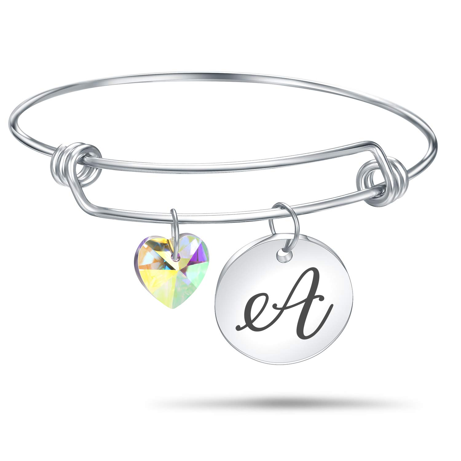 94edf1f6278 Amazon.com  4MEMORYS Initial Alphabet Bracelet Letter Engraved Stainless  Steel Material with Heart Crystal Personalized Charm Bangel Jewelry  (A-Silver)  ...