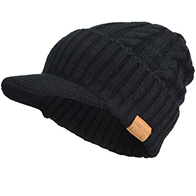 e1487ac28d2 Men Knitted Visor Beanie Fleece Lined Cuff Winter Daily Newsboy Cap  (Cable-Black)  Amazon.co.uk  Clothing