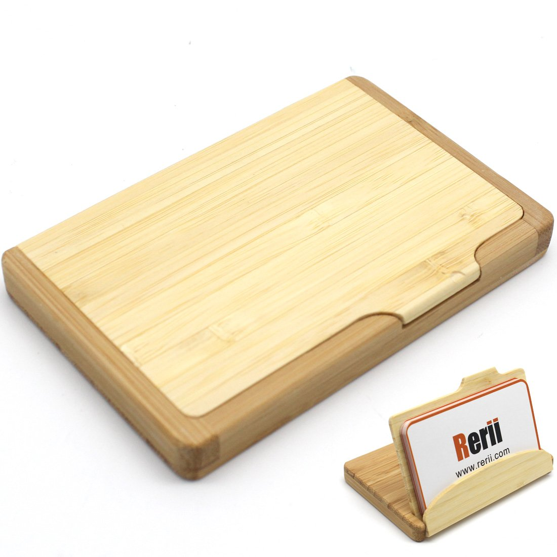 Rerii Wood Bamboo Business Card Holder, Name Card Case Stand ...