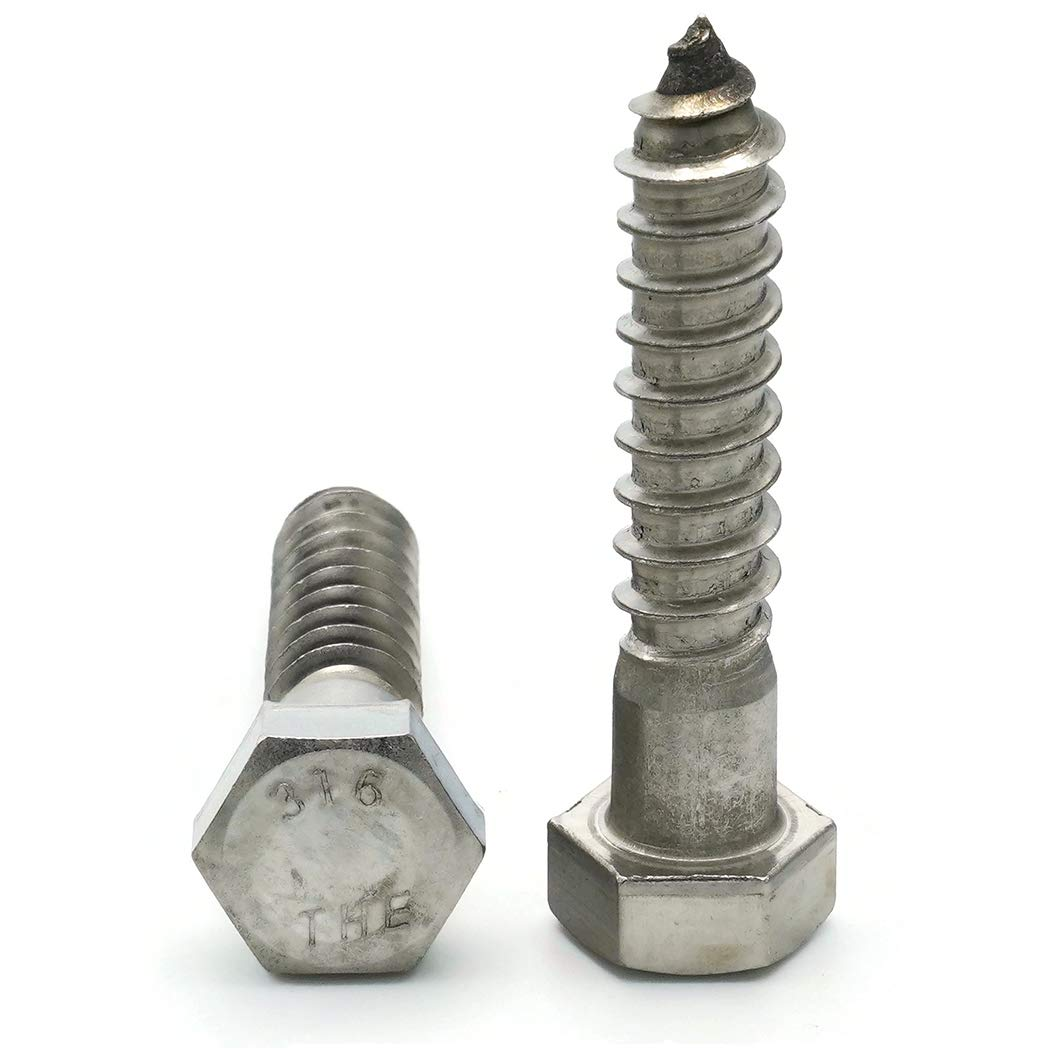 Stainless Steel 316 Lag Screws Hex Head Lag Bolts 1//4 x 2 Qty 25