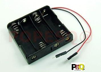 POPESQ® - Adaptador/Adapter Caja para Pilas Soporte Pilas/Battery Holder 4 x AA (R6): Amazon.es: Electrónica