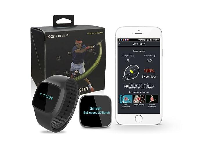 Usense - Sensor para entrenamiento de tenis y reloj de pulsera 2 en 1 (analizador de datos, podómetro con pasos en tiempo real, kilometraje, calorías)