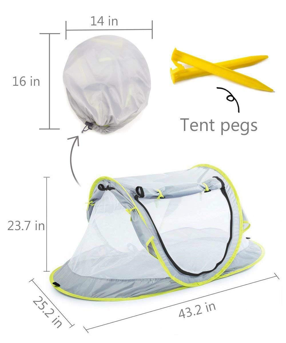 Baby Beach Tent UV Protection UPF 50+ Instant Beach Tent Sun Shelter Pop-up Outdoor Portable Newborn Travel Cribs Bed with Sleeping Pad, Mosquito Net and 2 Pegs Ultralight Weight by Monocho by Monocho (Image #7)