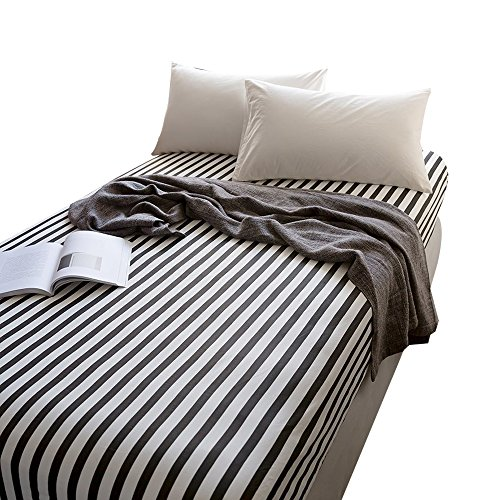 (OTOB 100% Cotton Black White Stripe Sheets Children Grid Fitted Sheets Soft Single Deep Fitted Bed Sheet Twin Size (Twin, Black White))