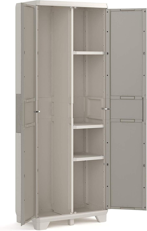 Keter Wood Grain - Armario alto, 182 x 68 x 39 cm, color beige con puertas textura madera