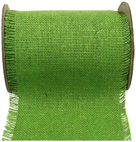Kel-Toy Fringed Edge Burlap Ribbon with Gold Metallic Thread, 6