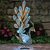 "Bits and Pieces-Solar Peacock Metal Sculpture-Very Beautiful Garden Sculpture Garden Décor Polyresin Statue Yard Art - Animal Statue Solar Peacock - Peacock Measures 22"" tall x 13"" wide x 9-1/2"" deep"
