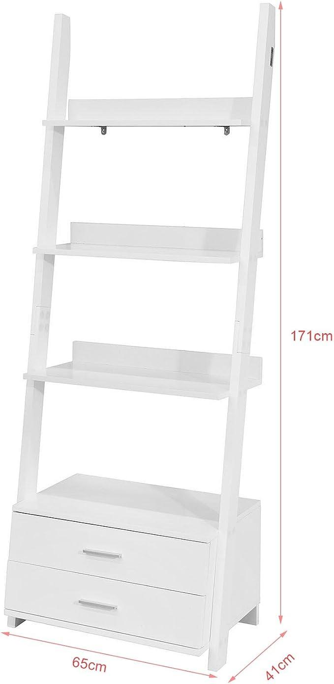 SoBuy Estanteriá en Escalera de Pared,Librería, 4 Áreas y 2 Cajones de Almacenamiento,Blanco,H171cm,FRG230-W,ES: Amazon.es: Hogar