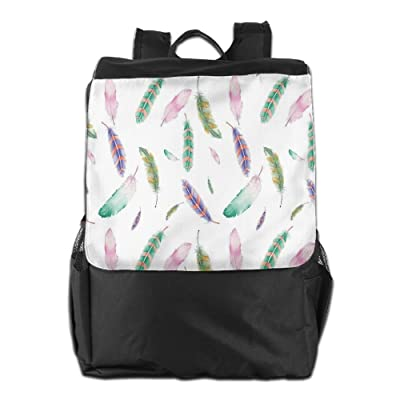 Newfood Ss Irregular Watercolors Feather Patterns In Soft Pastel Mint Plumage Design Outdoor Travel Backpack Bag For Men And Women