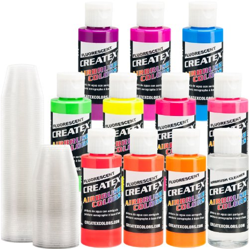 Createx KIT-F10 Flourescent 10 Airbrush Colors 2 oz Bottles Createx Paint 2 Oz Bottle