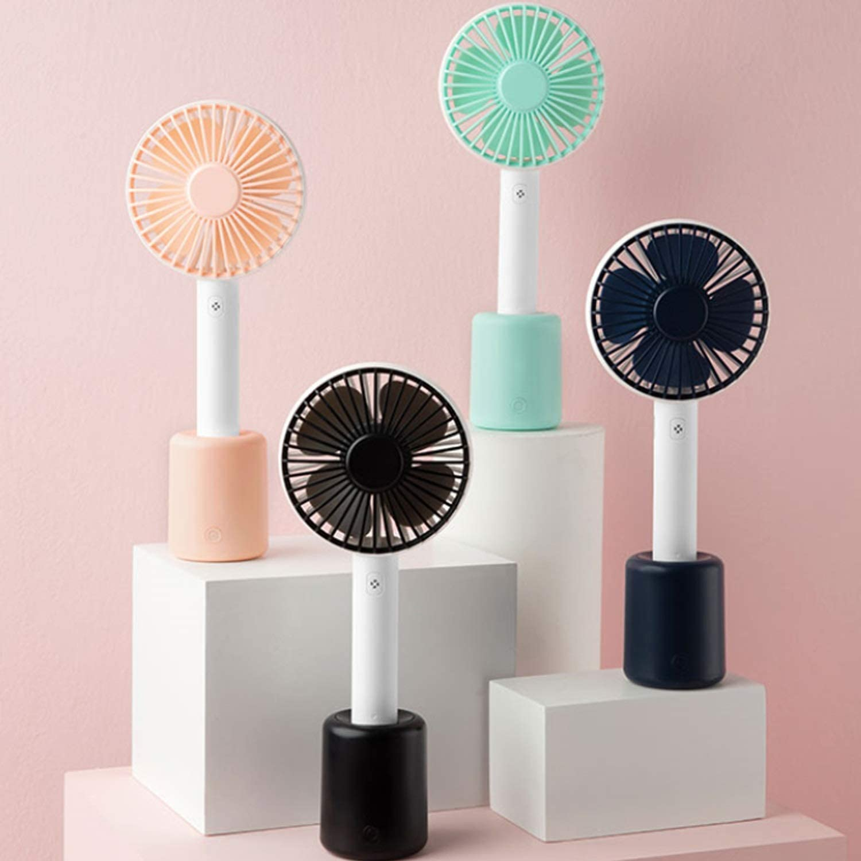Color : Blue Air Cooler Handheld USB Fan Shaking Head Table Fan Portable Personal Fan Mini Silent Four-Leaf Mini Fan