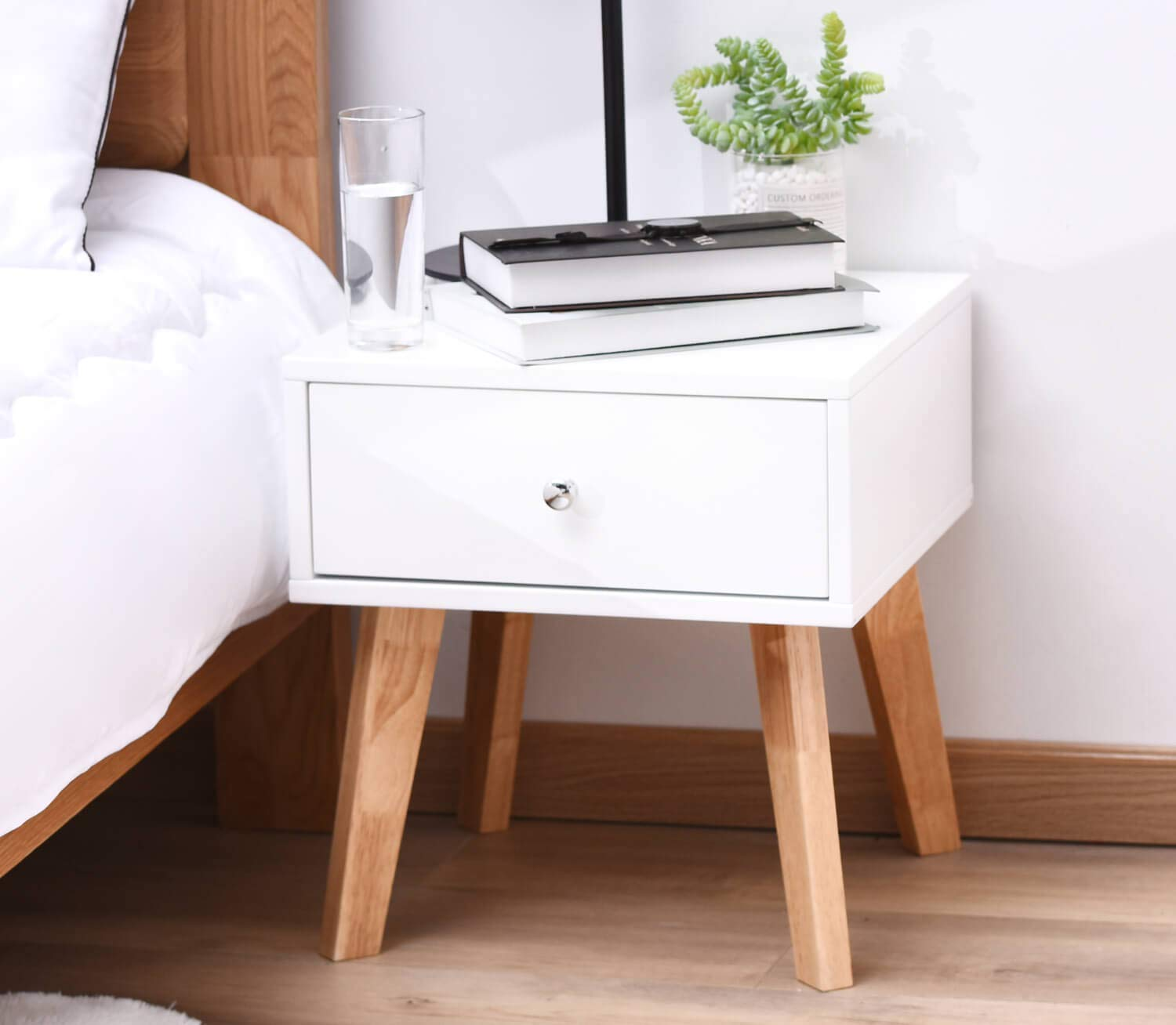 TaoHFE White Nightstand Wooden End Table with Drawer for Living Room Large Space Smooth Surface by TaoHFE