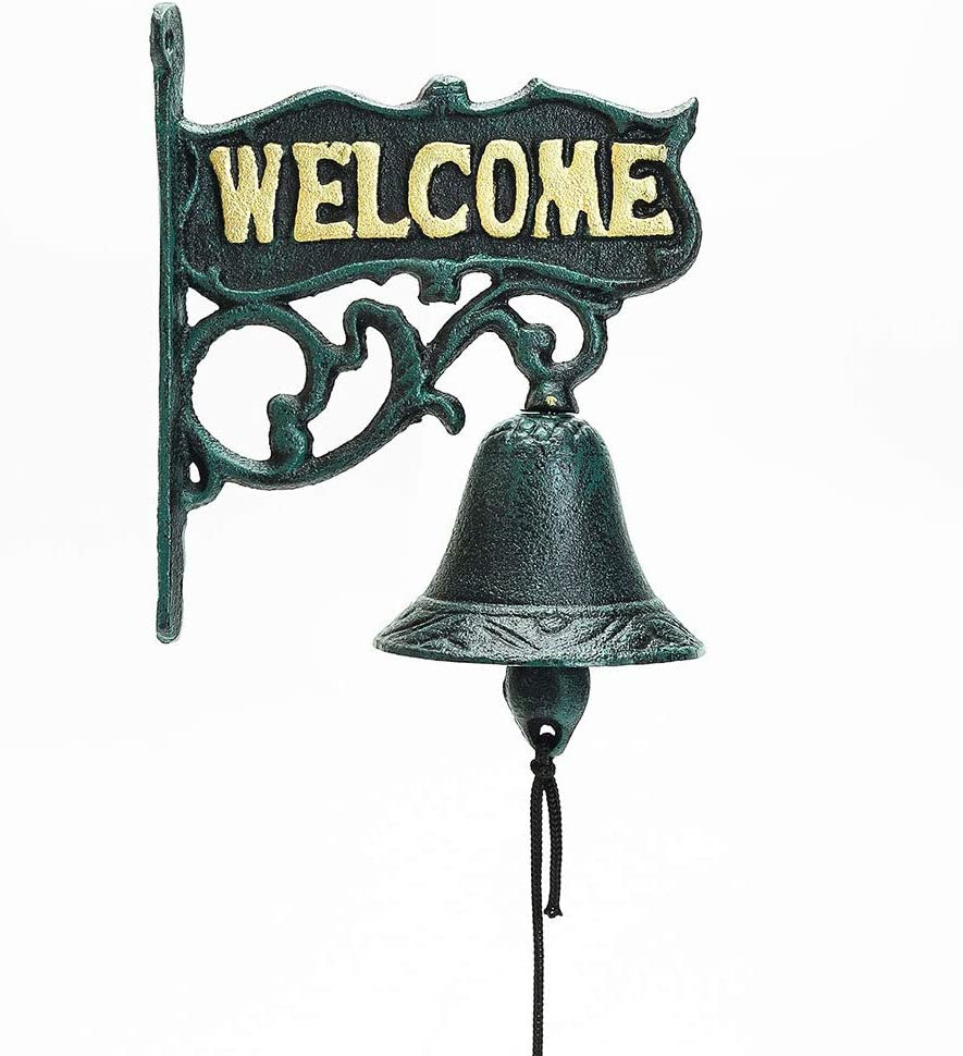 Sungmor Heavy Duty Cast Iron Wall Hanging Bell Welcome Sign - Decorative Vintage Green Flower Vine Manually Shaking Doorbell - Indoor Outdoor Wall Mounted Dinner Bell - Garden Home Wall Art Decoration