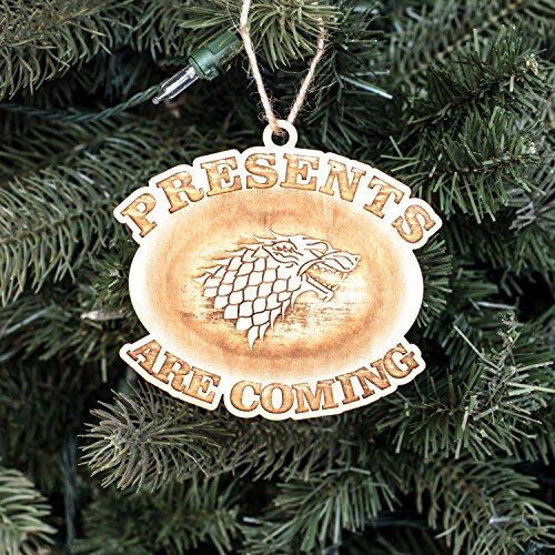 Ornament - Presents are Coming - Raw Wood 4x4in
