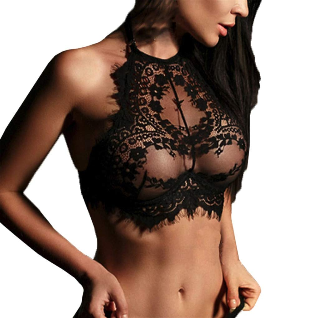 Women Intimates WANQUIY Sexy Lingerie Lace Flowers Push Up Top Bra Mesh Sleepwear Lace Nightwear Black