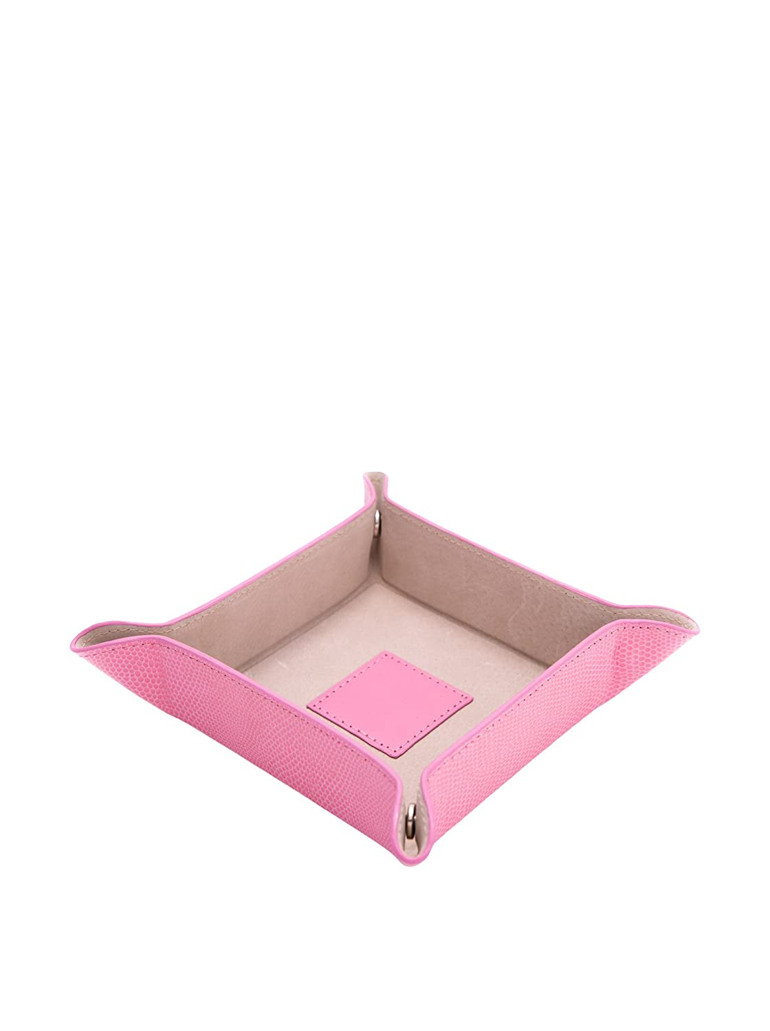 Bey-Berk Pink Lizard Print Leather Snap Valet Tray with Pig Skin Leather Lining