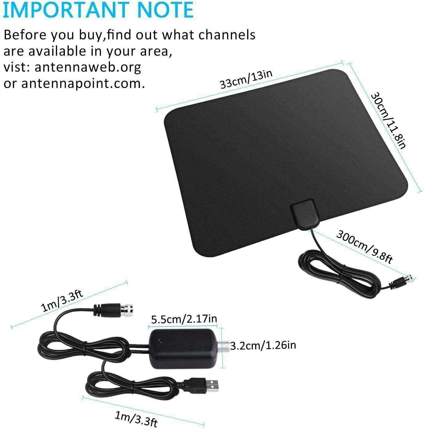 HD TV Signal Black Built-In Amplifier TV Antennas For Digital TV Range Indoor And Outdoor ARB Market 450 Miles 1080P VHF Antenna Digital HD TV Amplified Mile Ultra Thin Range Gain Booster