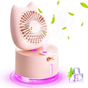 Mini Desk Fan, Rechargeable Battery Operated Table Cooling Misting Fan with LED Night Light and Humidifier Fan, 3 Speeds Portable USB Fan Quiet for Home, Office, Travel, Camping, Outdoor, Indoor