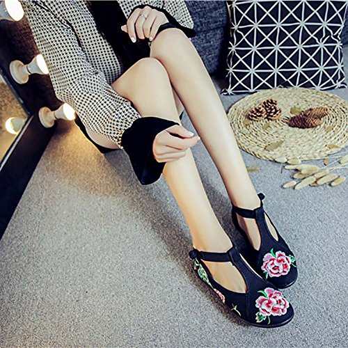 Embroidered Chinese Dancing Flats Rubber Shoes Sole Casual Wedding Black Traditional Phoenix Maiyi qdSt0d