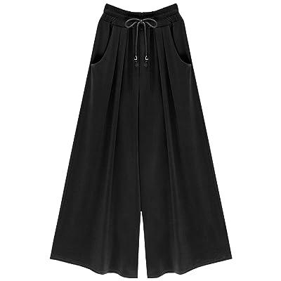 Chouyatou Women's Loose Fit Drawstring Elastic Waist Wide Leg Palazzo Pants