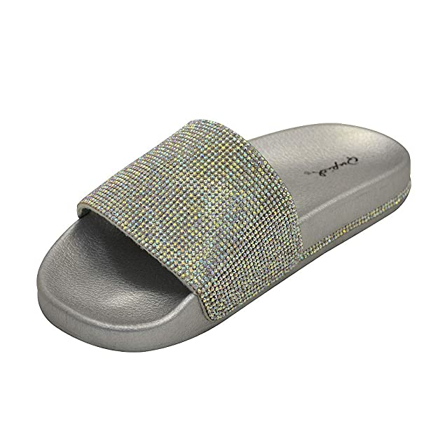 cf37c7b570a4 Qupid Kissy-01 Womens Rhinestone Accent Slide Flat Sandal  Amazon.co.uk   Shoes   Bags