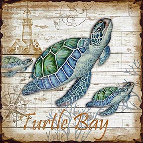 Turtle Bay Metal Sign | Nautical Theme Design | Sea Turtles | 10""