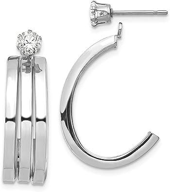 Jewelry Best Seller 14k White Gold J Hoop w//CZ Earring Jacket