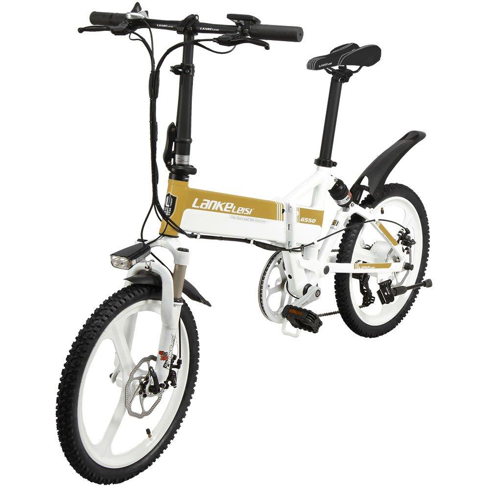 LANKELEISI G550高度な構成の電動自転車 20インチ48 V 記念日 240 W 10 ゴールド B079BKKK7Z 受注生産品 折りたたみフルサスペンション自転車 AHリチウム電子バイク7スピード 5ギア