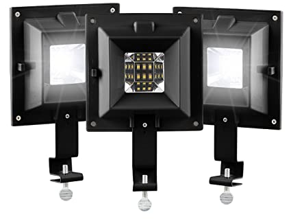 Lunartec LED aussen Lampen: 3er-Set Solar-LED-Dachrinnenleuchten, 6 SMD-LEDs, 20 lm, IP44, schwarz (Solardachrinnenleuchte)