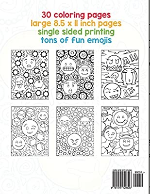 The Emoji Coloring Book 30 Large Coloring Pages Of Cute Funny And Awesome Emoji Designs With Smiley Faces By Squibble Media Amazon Ae