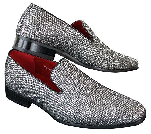 Habillé Soirée Verni Doré Sans Lacets Cuir Chaussures Argenté Argenté Homme Paillettes Brillant pqaHwWg