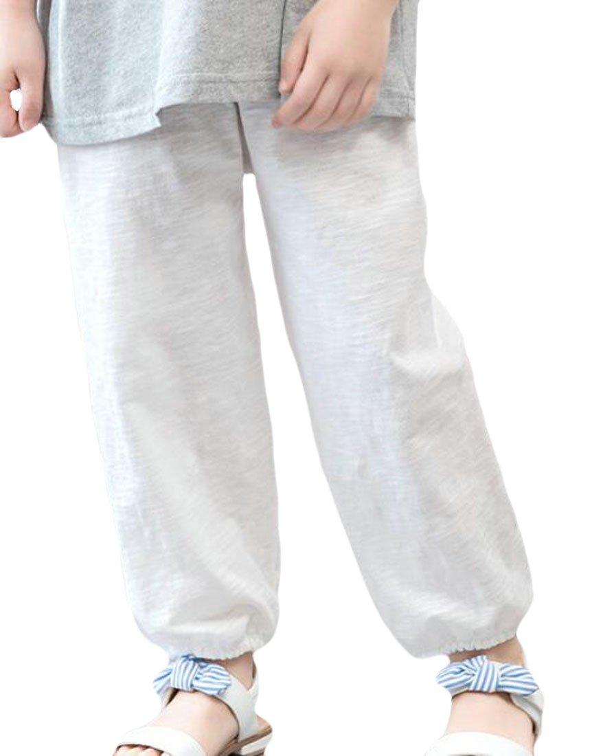 Pandapang Little Kids Girls' Stylish Lantern Pants Lounge Pure Color Pull On Pants White 3T