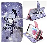 G3 Case, Jenny Shop Fashion Style PU Leather Stand Feather with 2 Built-in Card Slots, Money Pocket Flip Cover Magnetic Closure Cover Case ONLY for LG G3 5.5 Inch Screen Smartphone (Let's Go to Neverland)