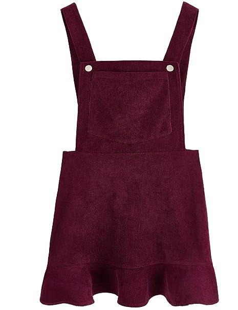71cae900bc6 Romwe Women s Ruffle Hem Straps A Line Bib Pinafore Corduroy Pocket Overall  Dress Burgundy XS