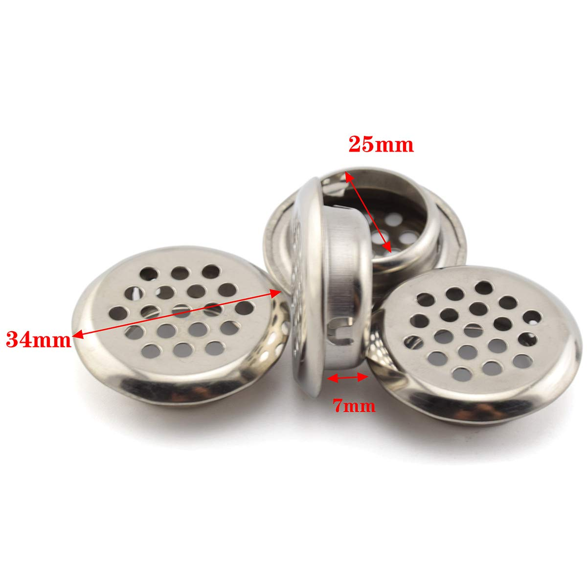 Black 6-Pack SDTC Tech 25 mm Circular Soffit Air Vent Stainless Steel Round Mesh Hole Louver Honeycomb Vent Cover Grommet for Cabinet Wardrobe Kitchen Bathroom