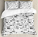 Arrow Decor Queen Size Duvet Cover Set by Ambesonne, Arrows Rustic Pattern Vintage Decorative Artwork in Drawing Effect, Decorative 3 Piece Bedding Set with 2 Pillow Shams