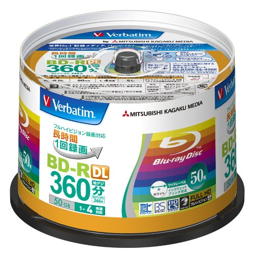 Verbatim Blu-ray Disc 50 pcs Spindle - 50GB 4X BD-R DL - Inkjet Printable by Verbatim